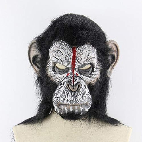 Kostüm King Monkey - LpfbGezfnwb Planet der Affen Halloween Cosplay Gorilla Monkey King Kostüme Maske (weiß & schwarz)
