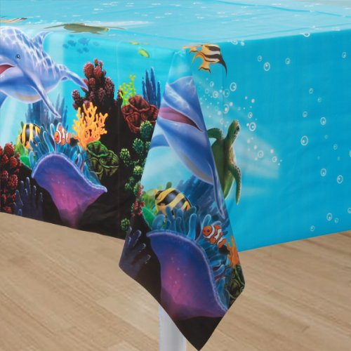 1 Tischdecke * OCEAN PARTY * für Kindergeburtstag und Mottoparty // Kinder Geburtstag Party Plastic Table Cover Ozean Meer Korallenriff Clownfisch Schildkröte Delfin
