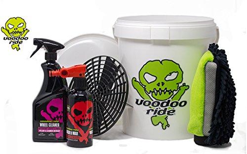 Voodoo Ride Exterior Starterset mit Eimer weiß Autopflege Außenreinigung Set Felgenreiniger Fettlöser Autoshampoo Glanz Waschhandschuh