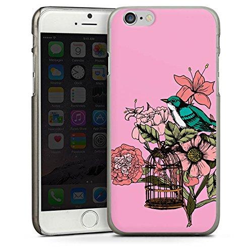 Apple iPhone 5s Housse Étui Protection Coque Oiseau Tatouage Fleurs CasDur anthracite clair