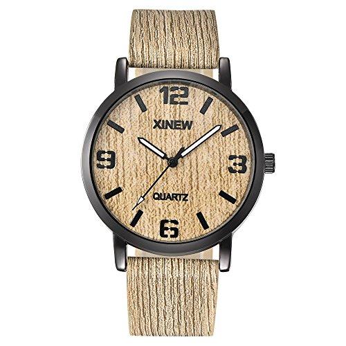 ?? Clode ??XINEW donne uomini legno texture orologio imitazione in legno retro orologio al quarzo in pelle