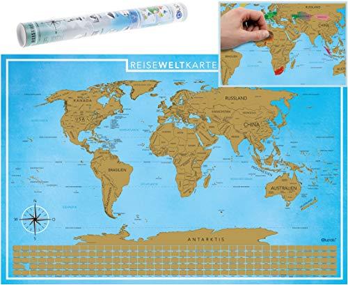 blupalu I Rubbel Weltkarte I Weltkarte zum Rubbeln XXL I Gold I mit Flaggen und Rubbel-Chip I World Map Poster I 89 x 59 cm | Deutsch