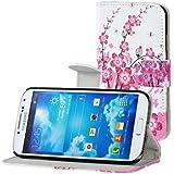 Samsung Galaxy S4 i9500 Buchdesigner Tasche mit trendigen Style Pink Cheery Flower Cover Leder Tasche Flip Case Schutz Hülle Handy Seiten Tasche im Neuem Desgin