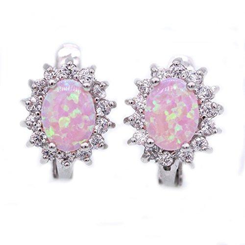 LOVE STUDIO, Aretes Pendientes Joyería para Mujeres AAA Titanio Zircon Moda para Boda Joyería de Fiesta 18K Oro Blanco Chapado (Pink)