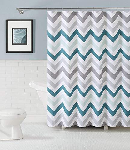Ali kaufen 100% Baumwolle Stoff Vorhang für die Dusche: Chevron Design (Aqua grau und weiß) (Weiß Und Aqua Vorhänge)