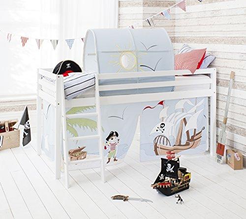Hochbett Mit Zelt (Noa and Nani Midsleeper Hochbett in Solid Weiß mit Zelt und Tunnel in Pirat Pete Design)