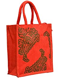 Red Jute With Green Mango Printed With Red Rope Handle Jute Burlap Lunch Tiffin Outdoor Handbag Bag Working Office...