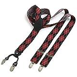 DonDon® Herren Hosenträger breit 3,5 cm – 4 Clips mit Leder in Y-Form – elastisch und längenverstellbar kariert in schwarz rot weiß