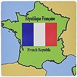 3drose LLC 20,3x 20,3x 0,6cm Maus Pad, die Karte und Flagge von Frankreich bedruckt mit der französischen Republik in Englisch und Französisch (MP _ 37586_ 1)