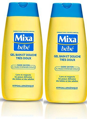 2 X Douche (Mixa Bébé Gel Bain et Douche Très Doux Lot de 2 x 200 ml)