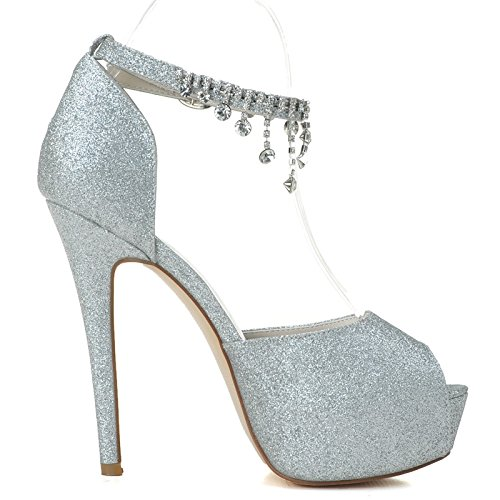 Zapatos De Mujer Con Sandalias Con Tacones Altos En Sandalias De Plata