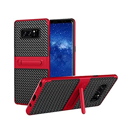 wuayi Shockproof Hybrid TPU + PC Full Cover Case Protector Stand For Samsung Note 8 (Red)
