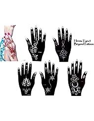 Tattoo Ensemble de Lot de 5pochoirs Henna Designs Usage Unique pour les mains Tyra 5