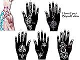 Tattoo-Ensemble-de-Lot-de-5-pochoirs-Henna-Designs-Usage-Unique-pour-les-main