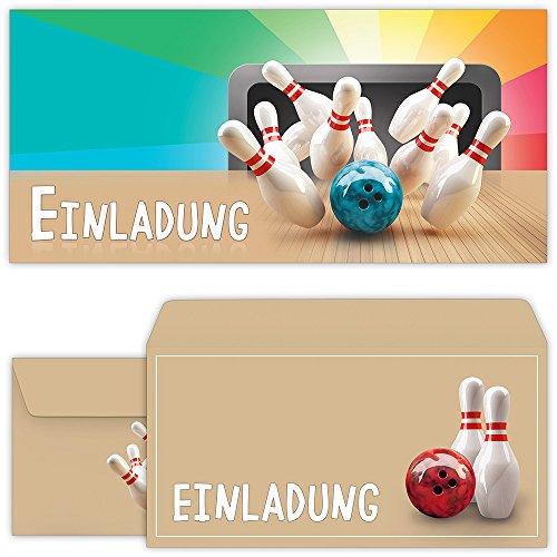 Bowling Einladungskarten mit Umschlägen (12er Set) zum Kindergeburtstag von BeriluDesign | Kegeln Kinder Geburtstag-Einladungen Karten Feier Party Jungen Mädchen