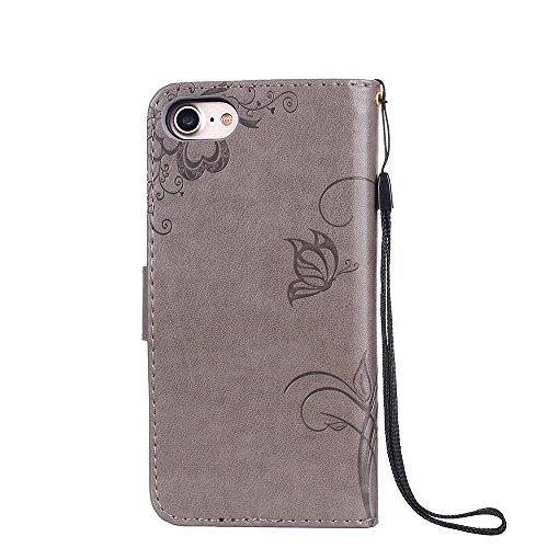 EKINHUI Case Cover Premium PU Leder Folio Stand Case, Solid Farbe prägeartig Blumen Muster Schutzhülle Tasche Tasche mit Lanyard & Card Slots für iPhone 7 ( Color : Red ) Gray
