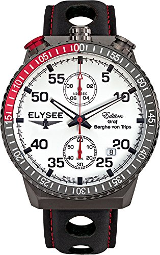 ELYSEE Men's Rally Timer I 44mm Black Leather Band IP Steel Case Quartz White Dial Analog Watch 80517MMW