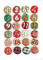 1a Qualität! 24 Adventskalender Buttons in rot grün; Adventskalender-Zahlen zum selber basteln; 1 bis 24; Sticker aus Alu mit einer Nadel hinten