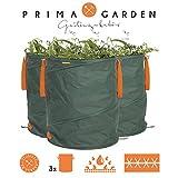 PRIMA GARDEN 03700 Gartenabfallsack 3er-Set | Gartensack, Laubsack, Rasensack ( Geeignet für Gartenabfälle wie Laub, Heckenschnitt oder Rasen ) | Wasserundurchlässig, Pop-Up Technologie | 160 Liter | Grün