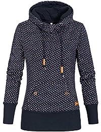Seventyseven Lifestyle Damen Hoodie Pullover Kapuze Herz Muster Navy blau eec3272e55