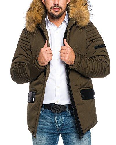 HUSARIA warm gefütterte Herren Parka mit Kapuze und echtem Fell Wintermantel Funktionsjacke Outdoorjacke Jacke Wintermantel Kapuzenjacke Mantel AK923 Khaki 2