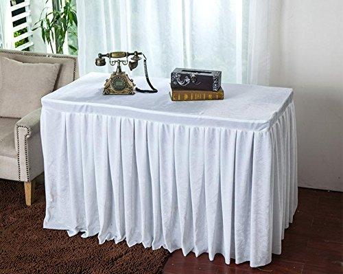 BLUELSS Velvet Fabric Conference Table Cover singen Tabelle Röcke Event Party Tischdecke Stand Einstellung Multi-Usage Bankett Tischdecke, weiß, 120 X 40 X 75 CM.