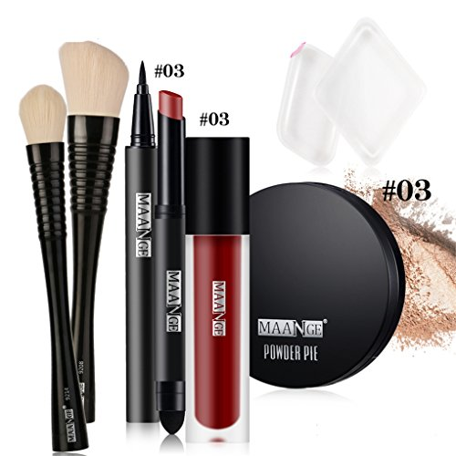 BrilliantDay 6Pcs Kit de Maquillage Eyeliner Poudre Rouge à Lèvres Correcteur Powder Puff Foundation Kit#