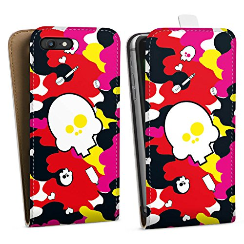 Apple iPhone X Silikon Hülle Case Schutzhülle Muster Totenkopf Bunt Downflip Tasche weiß