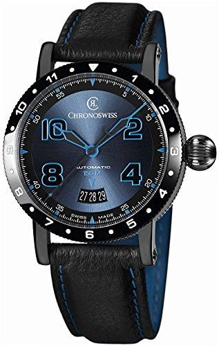 Chronoswiss Timemaster 150 Automatic Black PVD Steel Mens Strap Watch Calendar CH-2735-BL/31-1