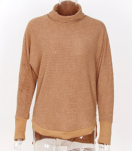 Femme Automne-Hiver Col Montant Sous-Pull Chandails Manches Longues Casual Pull-over Sweater Jumper Tricots Sweat-shirt Laine Tops Monissy Kaki