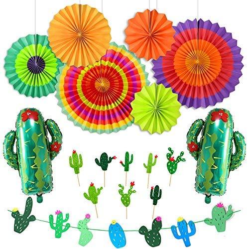 LUCK COLLECTION Party Dekorationen Fiesta Banner Kaktus Garland Cupcake Toppers Hanging Papier Fans für Fiesta Thema Jahrestag Baby Shower Dekorationen Bridal Shower