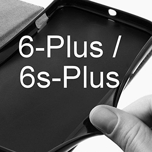 eSPee für --- Apple iPhone 6Plus --- Schutzhülle Wallet Flip Case Schwarz mit Silikon Bumper und Magnetverschluß Pink