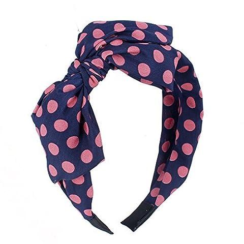 Pink Dots gedruckt Verbandsmull beschichtetem Kunststoff Haarreif Haar-Band für Mädchen