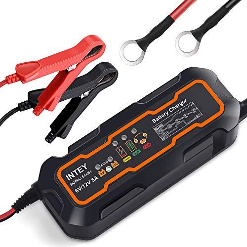 INTEY Batterieladegerät 5.0 Vollautomatisches Batterieladegerät Autobatterie Ladegerät (Motorrad und KFZ) Batterien-Winter Batterieschutz 6/12 V 5A -