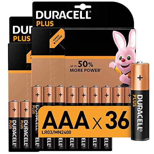 Duracell Plus AAA Alkaline Batteries, 1.5 V LR03 MN2400, Pack of 36