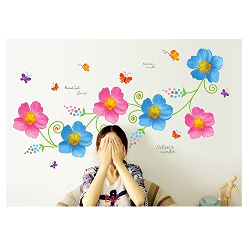 UberLyfe Blue and Pink Flowers Wall Sticker Size 3 (Wall Covering Area: 60cm x 120cm) - WS-001114