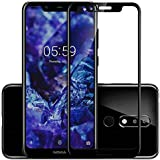 Frazil Full Glue, Full Coverage Edge-to-Edge 5D/6D/11D Tempered Glass Screen Protector for Nokia 5.1+ Plus (Black)