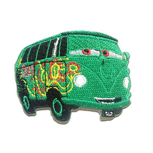 Parches - autobús Retro Hippie - verde - 7,5x6cm - termoadhesivos bordados aplique para ropa