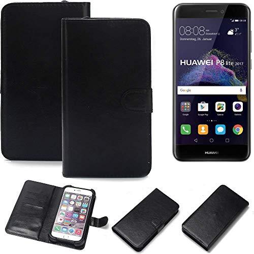 K-S-Trade Wallet Case Handyhülle für Huawei P8 Lite 2017 Dual SIM Schutz Hülle Smartphone Flip Cover Flipstyle Tasche Schutzhülle Flipcover Slim Bumper schwarz, 1x