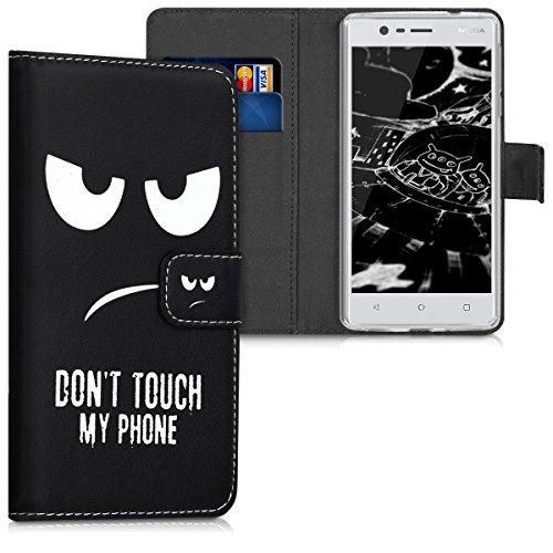 kwmobile Hülle für Nokia 3 - Wallet Case Handy Schutzhülle Kunstleder - Handycover Klapphülle mit Kartenfach und Ständer Don't touch my Phone Design Weiß Schwarz