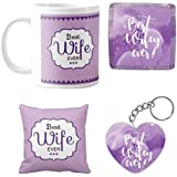YaYa Cafe Birthday Gifts For Wife, Best Wife Ever Coffee Mugs For Wife Hamper Set Of 4 With Mug, Cushion Cover, Coaster And Keychain