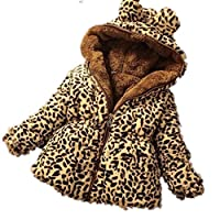Nine Minow Baby Toddler Girls Winter Add Wool Leopard Grain Hooded Coat Outerwear Jacket (5-6 Years) Brown