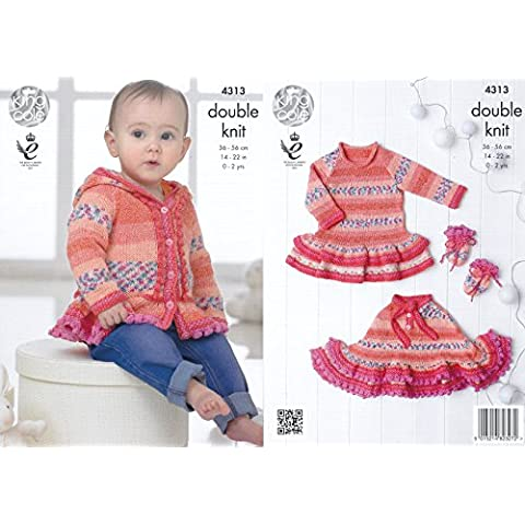 King Cole Double Knitting Pattern Frilled Dress Hoodie Poncho & Mittens Set Baby Drifter DK (Knit Poncho Modello)