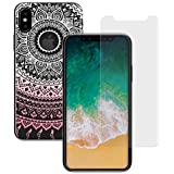 yayago 2in1 Set, Panzerglas 0 26 MM Displayschutzfolie für Apple iPhone X Glasfolie Hartglas 9H + yayago Schutzhülle für Apple iPhone X Hülle Mandala Ornament Motiv Tattoo Design Transparent