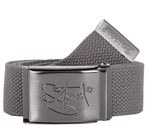 2Stoned Gürtel Canvas Belt Grau, matte Schnalle Classic, 4 cm breit, Stoffgürtel für Damen und Herren