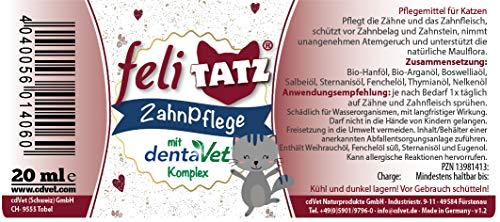 cdVet Naturprodukte feliTATZ ZahnPflege 20 ml - Katze -  Zähne und Zahnfleisch -Hygiene - Zahnfleischentzündung - Appetitlosigkeit - Maulgeruch -  Geruchshemmend + Zahnfleisch kräftigend -