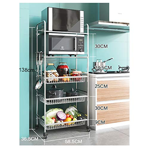 WSC Rack-Wagen mit Rädern versehene Küche, Boden-Mehrschichtige Wheeled Obst-Speicher-Korb, Gemüse Rack (Größe : 138cm×36.5cm×58.5cm)