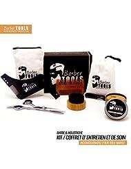 ✮ BARBER TOOLS ✮ Kit / Set / Coffret d'entretien et de soin pour barbe. Peigne barbe + Brosse barbe ronde 100% en poils de sanglier + Ciseaux professionnels de barbe + Peigne de précision + Peigne barbe pochoir + Bavoir barbe + sac de rangement avec sa fermeture zippée. Le cadeau idéal pour les hommes barbus.