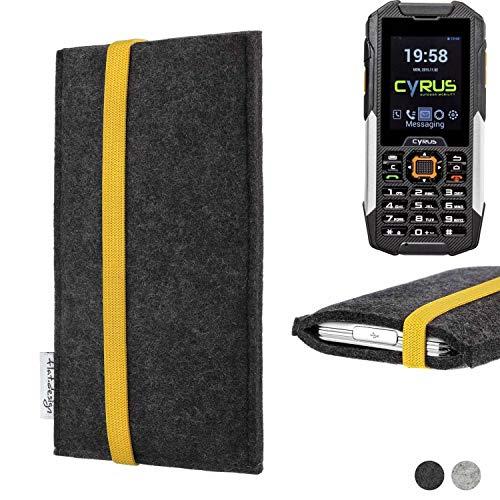 flat.design Handy Hülle Coimbra für Cyrus cm 16 passgenau Handytasche Filz Tasche fair schwarz gelb