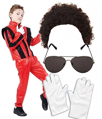 (Boys Michael Jackson 80S Fancy Dress Costume With Wig Glasses Gloves Age 10-12)